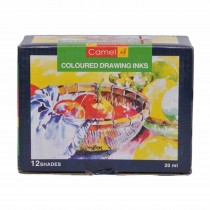 Camlin Assorted Drawing Ink (12 Colours) 20 ml