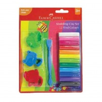 Faber-Castell 12 Modelling Clay 150gm with toy moulds n craft tool