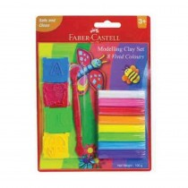Faber-Castell 8 Modelling Clay 100gm with toy moulds n craft tool