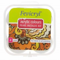 Pidilite Fevicryl Acrylic Colours Pearl Metallic Kit (4 Shades of 10ml)