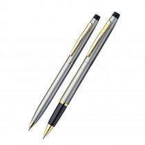 Pierre Cardin Kriss Satin Nickle Roller & Ball Pen Gift Set