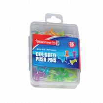 WorldOne Assorted Colours Push Pins (Pack of 35 Pins)