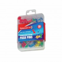 WorldOne Assorted Transparent Colours Push Pins (Pack of 35 Pins)